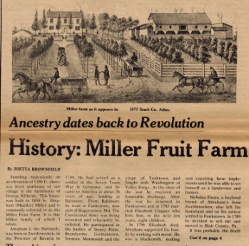 The Miller Fruit Farm sat at the top of the hill along Arcadia Street