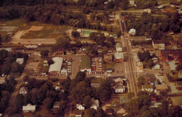 Aerial view of downtown Canal Fulton in the 1980's