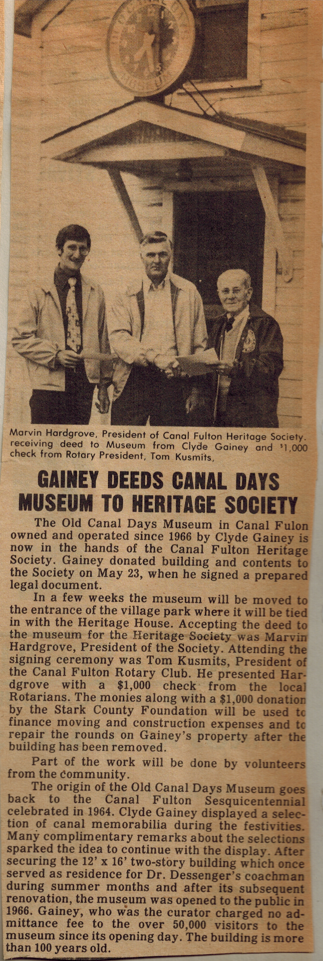 Gainey deeds Museum to CFHS